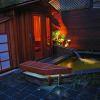 outdoor spa and koi pond lighting