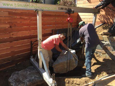 Craning a 1,000 lb Boulder into Place
