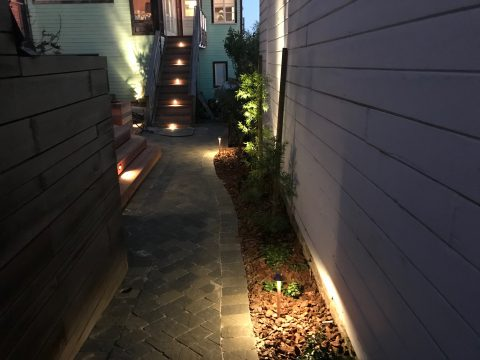 Backyard Landscape Project: After, pathway made from McNear Interlocking Paver in Slatestone Olevine